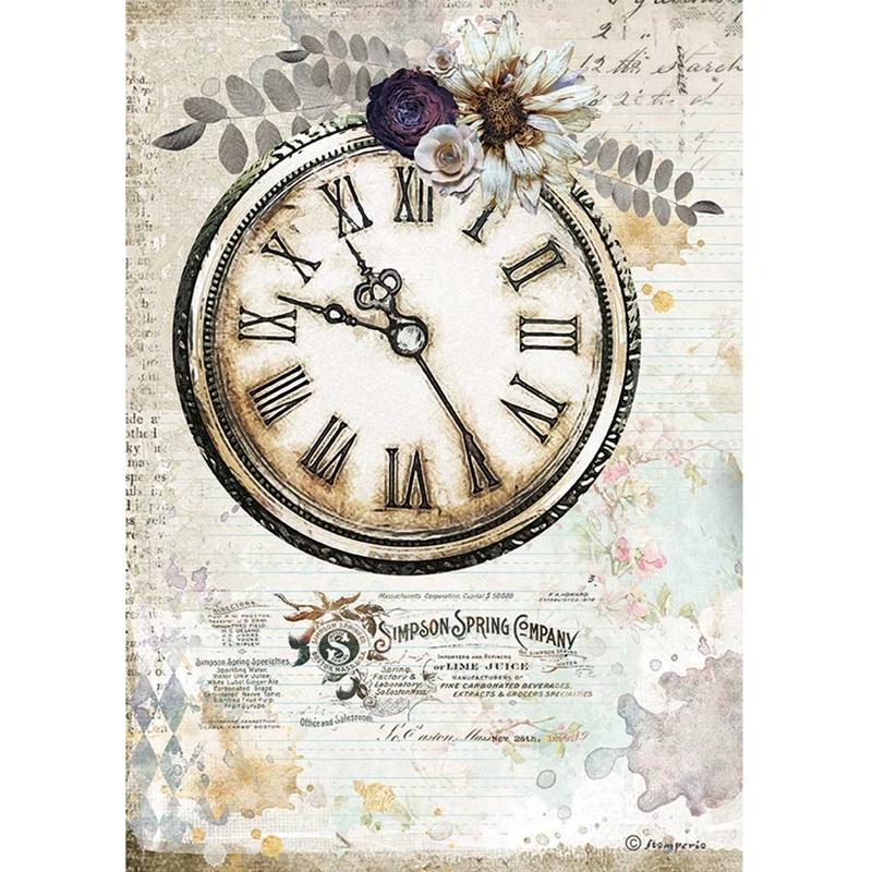 Ριζόχαρτο Stamperia 21x29cm, Journal, Clock