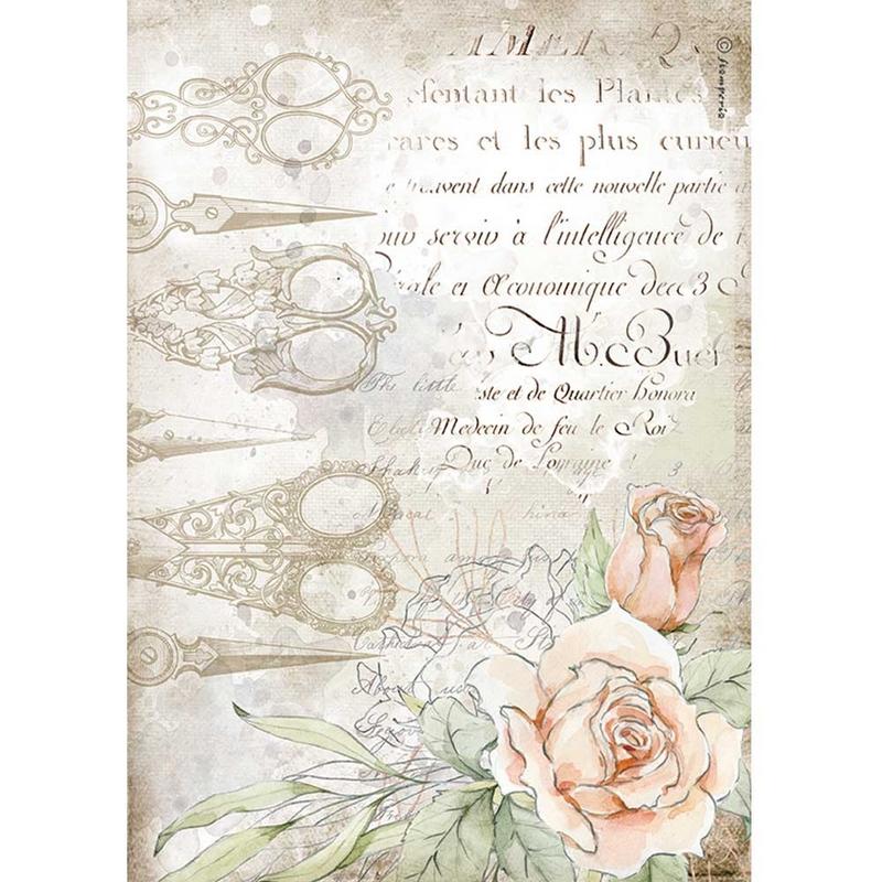 Ριζόχαρτο Stamperia 21x29cm, Threads, Scissors and roses