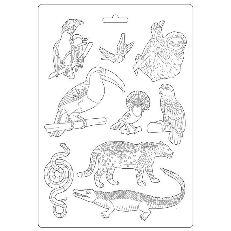 Καλούπι εύκαμπτο A4, 21x29cm, Stamperia, Amazonia animals