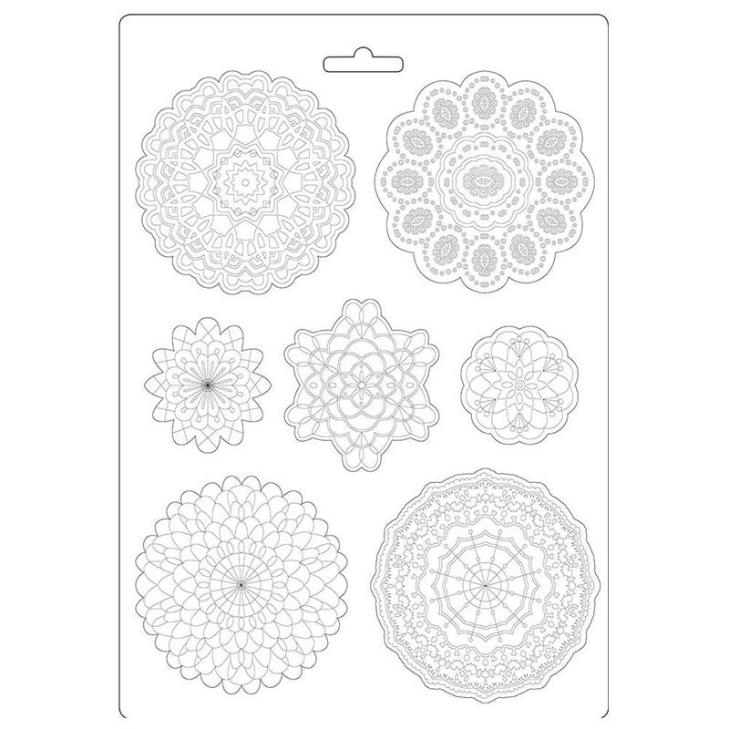 Καλούπι εύκαμπτο A4, 21x29cm, Stamperia, Passion round lace