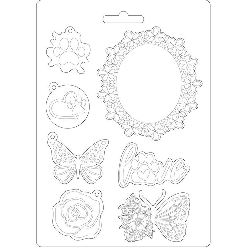 Καλούπι εύκαμπτο A5, 15x21cm, Stamperia, Circle of Love frames and butterfly