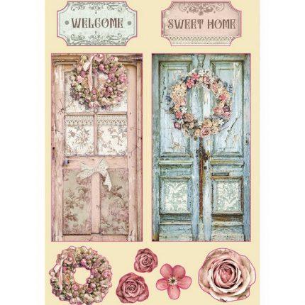 Ξυλάκια διακοσμητικά έγχρωμα A5 Stamperia, Passion, Home