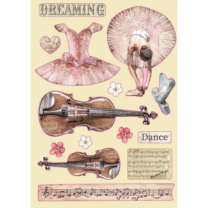 Ξυλάκια διακοσμητικά έγχρωμα A5 Stamperia, Passion, Violin