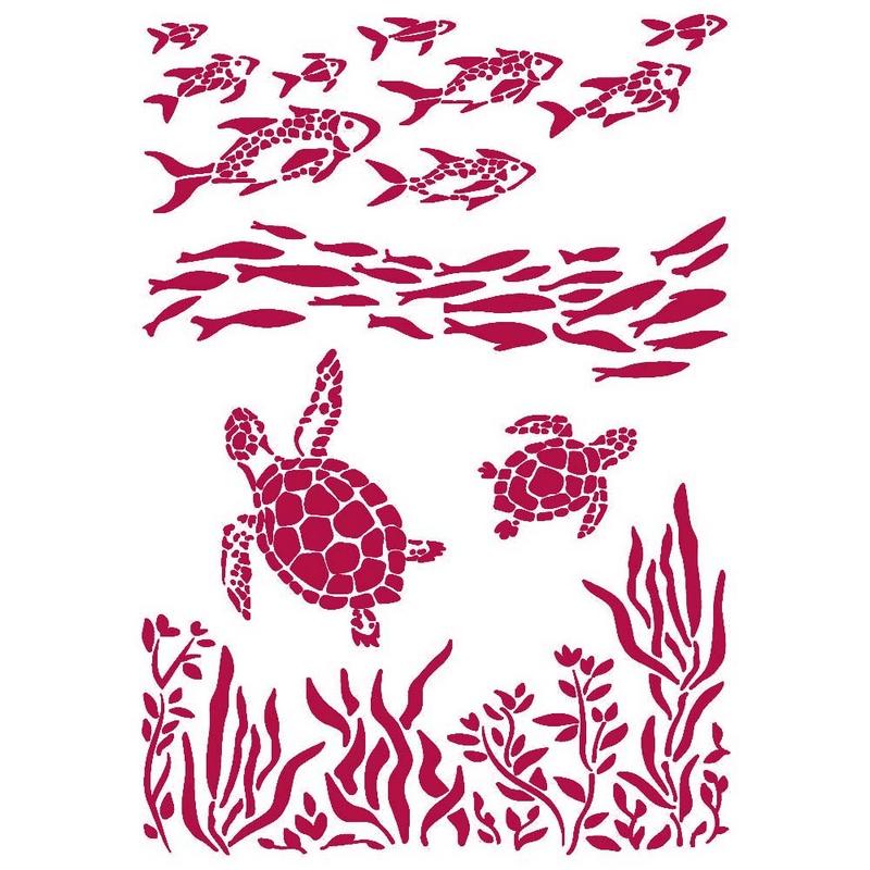 Στένσιλ Stamperia 21x29,7cm, Romantic Sea Dream, Fish and Turtles