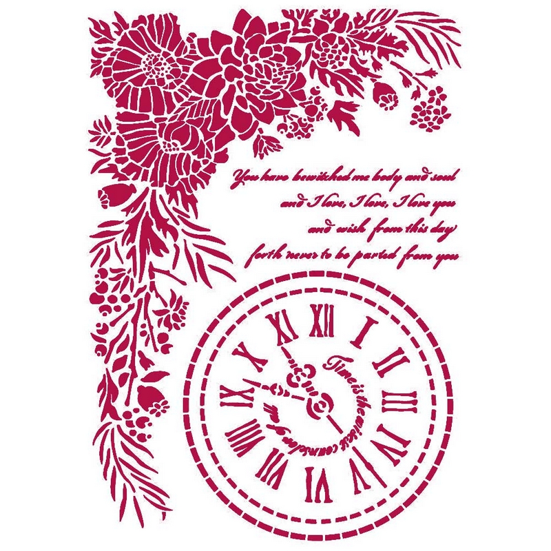 Στένσιλ Stamperia 21x29,7cm, Romantic Journal, Clock