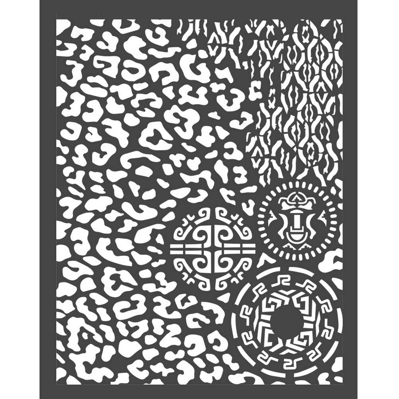 Thick stencil Stamperia 20x25cm, Amazonia, Animals with tribals