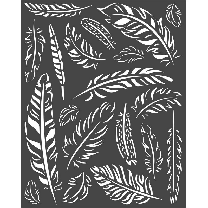 Thick stencil Stamperia 20x25cm, Amazonia, Feathers