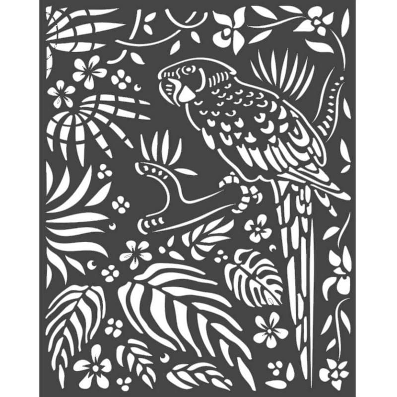 Thick stencil Stamperia 20x25cm, Amazonia, Parrots