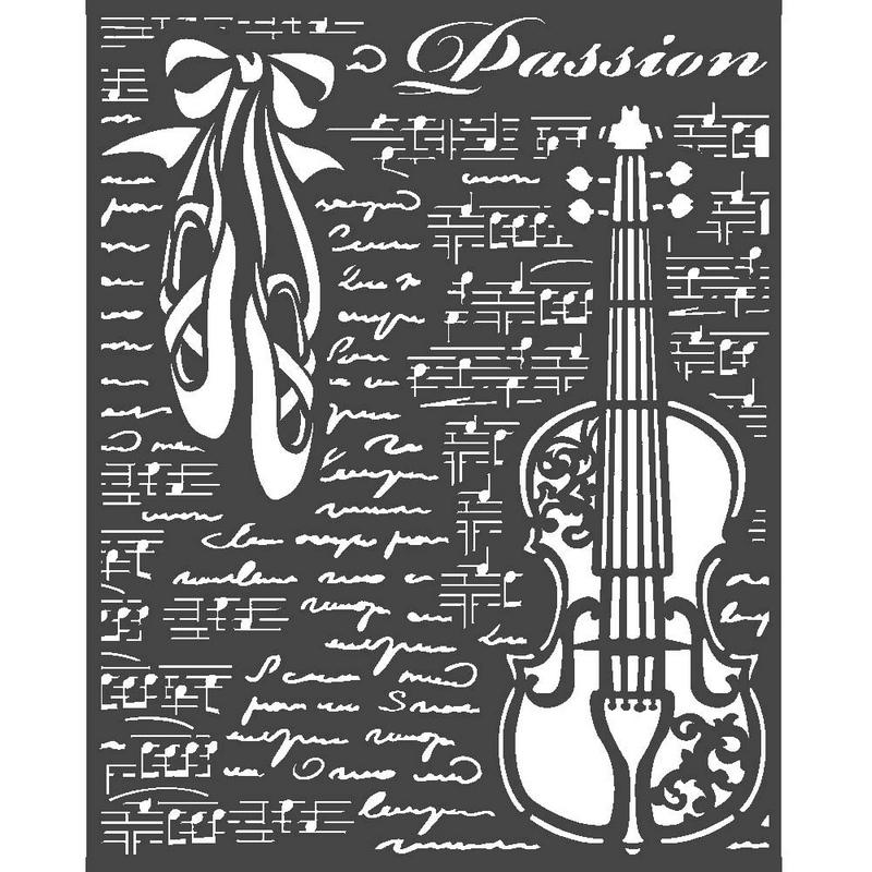 Thick stencil Stamperia 20x25cm,  Passion, Violin