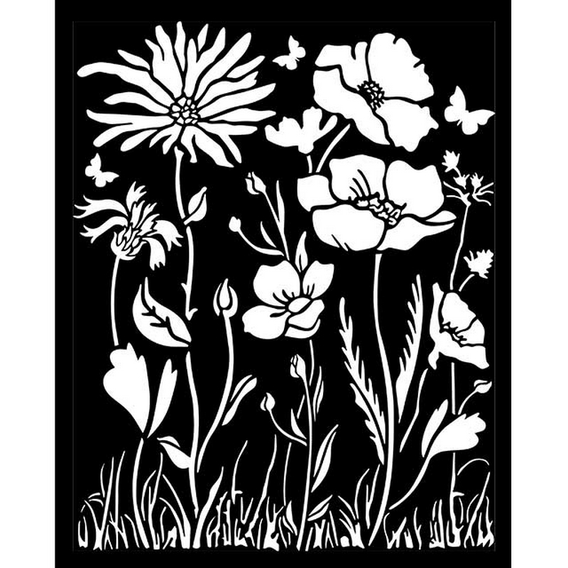 Thick stencil Stamperia 20x25cm,  Atelier, Poppy and flowers