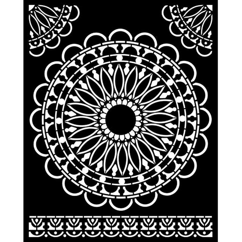 Thick stencil Stamperia 20x25cm,  Atelier, Round Lace