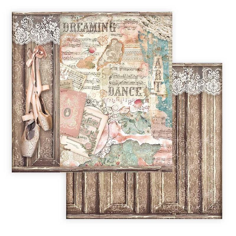 Χαρτί scrapbooking διπλής όψης 30x30cm Stamperia, Passion, Shoes of ballet
