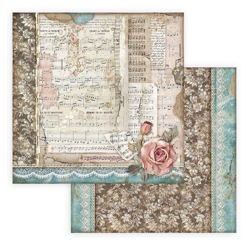Χαρτί scrapbooking διπλής όψης 30x30cm Stamperia, Passion, Rose and music