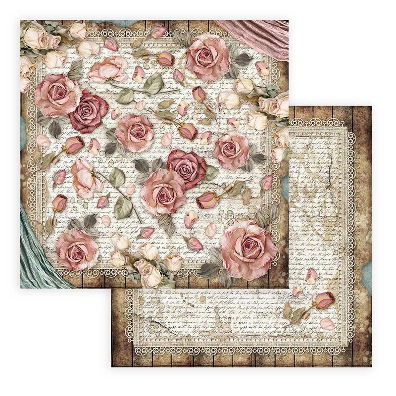 Χαρτί scrapbooking διπλής όψης 30x30cm Stamperia, Passion, Rose and lace