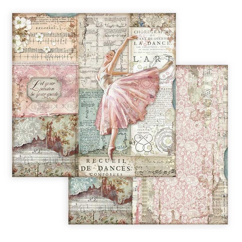 Χαρτί scrapbooking διπλής όψης 30x30cm Stamperia, Passion, Dancer