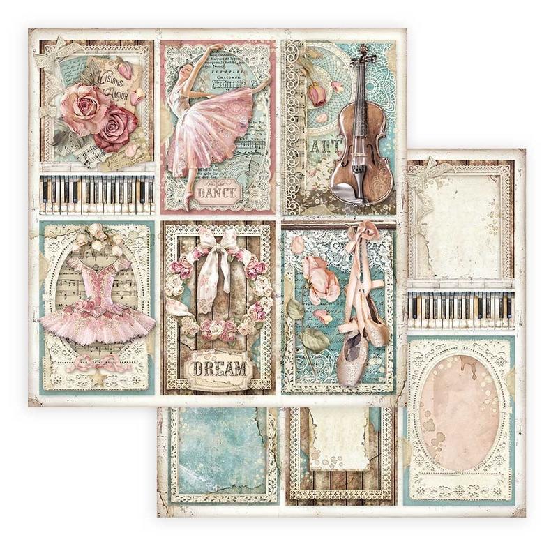 Χαρτί scrapbooking διπλής όψης 30x30cm Stamperia, Passion, Cards