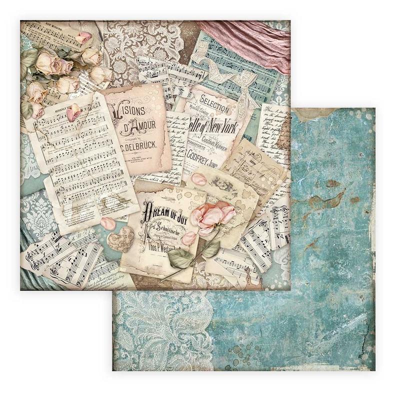Χαρτί scrapbooking διπλής όψης 30x30cm Stamperia, Passion, Scores