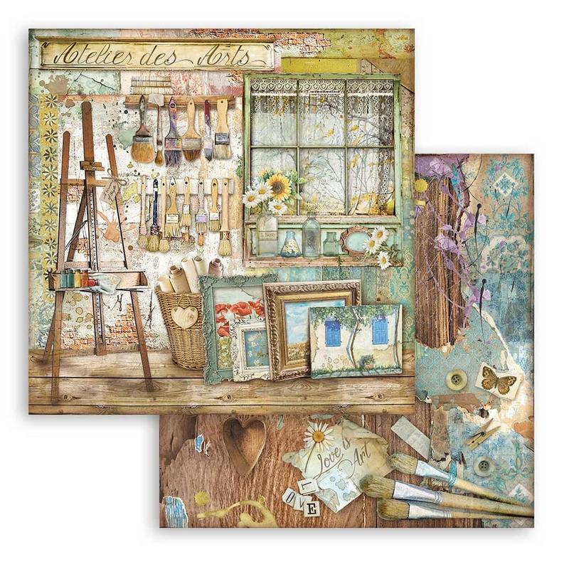 Χαρτί scrapbooking διπλής όψης 30x30cm Stamperia, Atelier