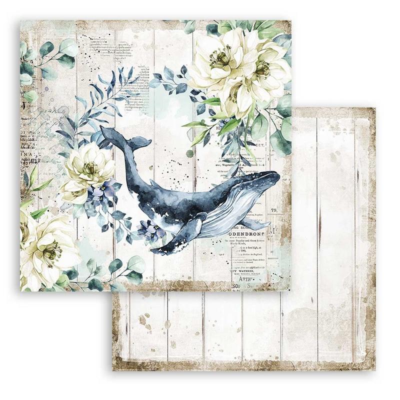Χαρτί scrapbooking διπλής όψης 30x30cm Stamperia, Romantic Sea Dream, Whale
