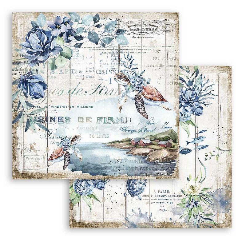 Χαρτί scrapbooking διπλής όψης 30x30cm Stamperia, Romantic Sea Dream, Turtle