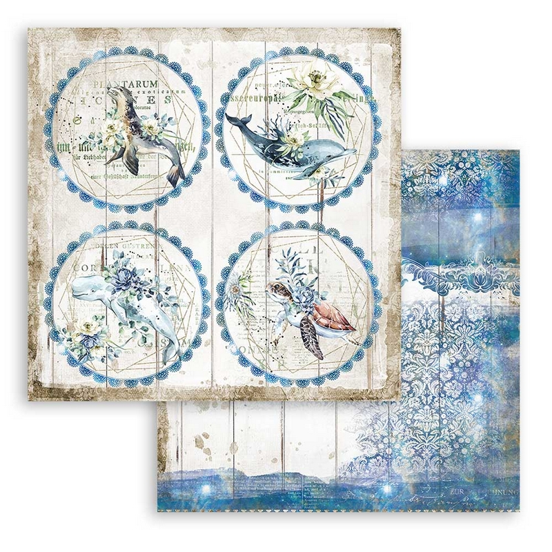 Χαρτί scrapbooking διπλής όψης 30x30cm Stamperia, Romantic Sea Dream, Round