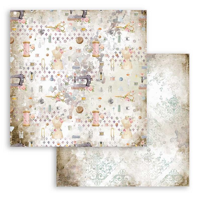 Χαρτί scrapbooking διπλής όψης 30x30cm Stamperia, Romantic Threads, Texture