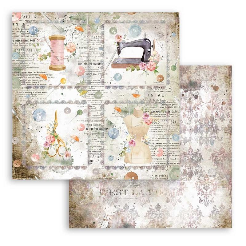 Χαρτί scrapbooking διπλής όψης 30x30cm Stamperia, Romantic Threads, Cards