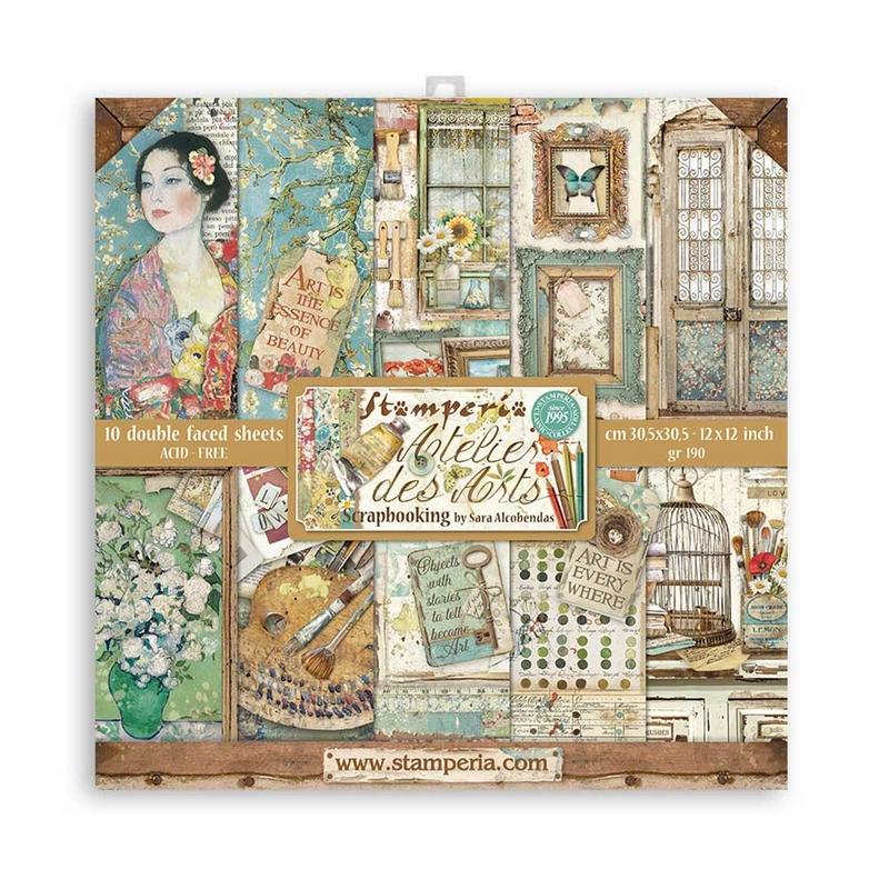 Χαρτιά scrapbooking Stamperia 10τεμ, 30.5x30.5cm, Atelier des Arts