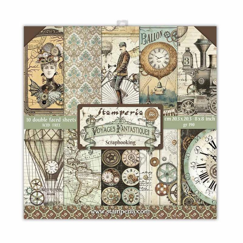 Χαρτιά scrapbooking Stamperia 10τεμ, 20.3x20.3cm, Voyages Fantastiques