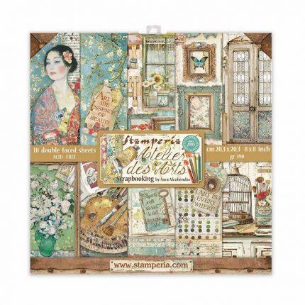 Χαρτιά scrapbooking Stamperia 10τεμ, 20.3x20.3cm, Atelier des Arts