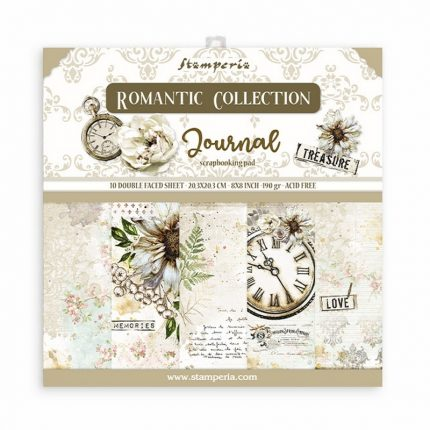 Χαρτιά scrapbooking Stamperia 10τεμ, 20.3x20.3cm, Romantic Journal