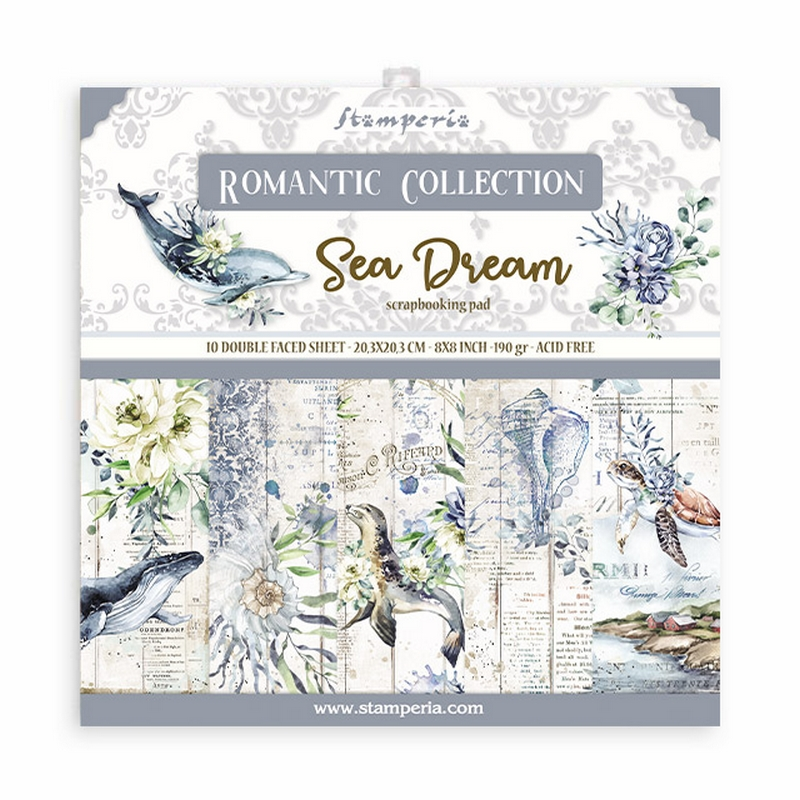 Χαρτιά scrapbooking Stamperia 10τεμ, 20.3x20.3cm, Romantic Sea Dream