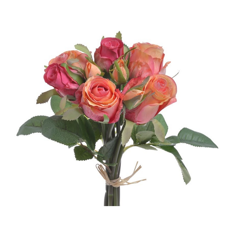 Μπουκέτο 9 τριαντάφυλλων 27cm, coral