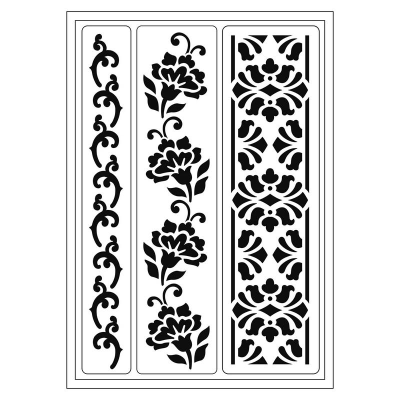Flexible Stencil Flower Borders, 21x14,8 cm VIVA DECOR