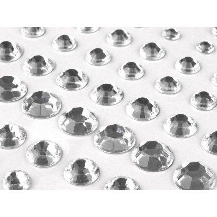 Αυτοκόλλητες πέρλες crystal με βάση, 6-12mm, 91 τεμ.