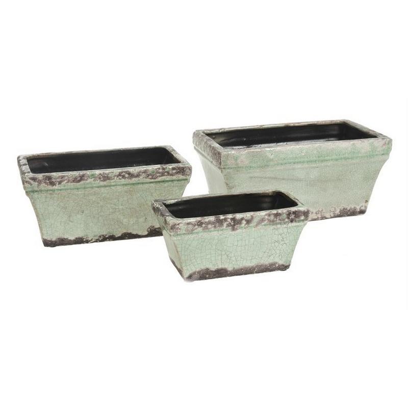 Δοχεία κεραμικά οβάλ, 3 τεμ, mint