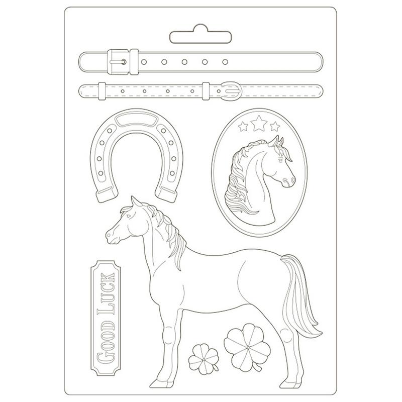 Καλούπι εύκαμπτο A4, 21x29cm, Stamperia, Romantic Horses