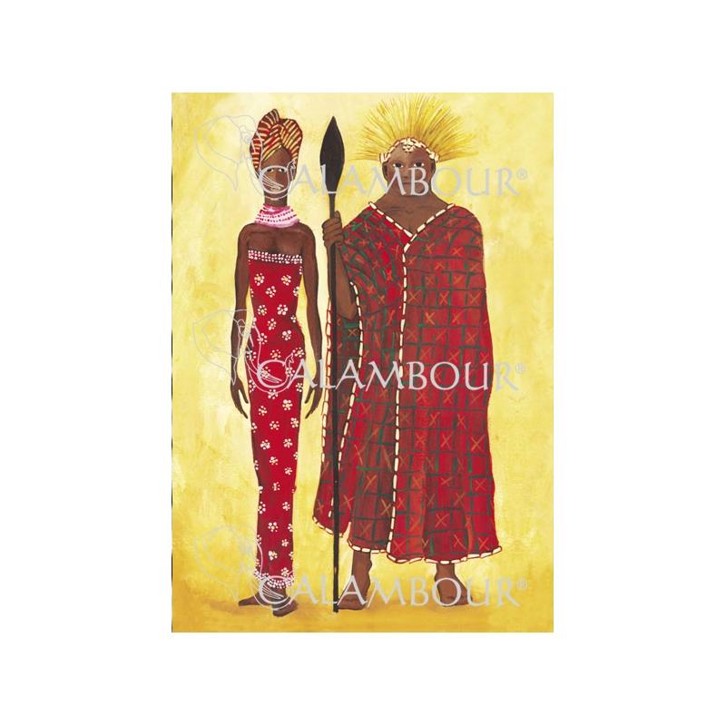 Ριζόχαρτο Calambour με αφρικανικό ζευγάρι, 35x50cm