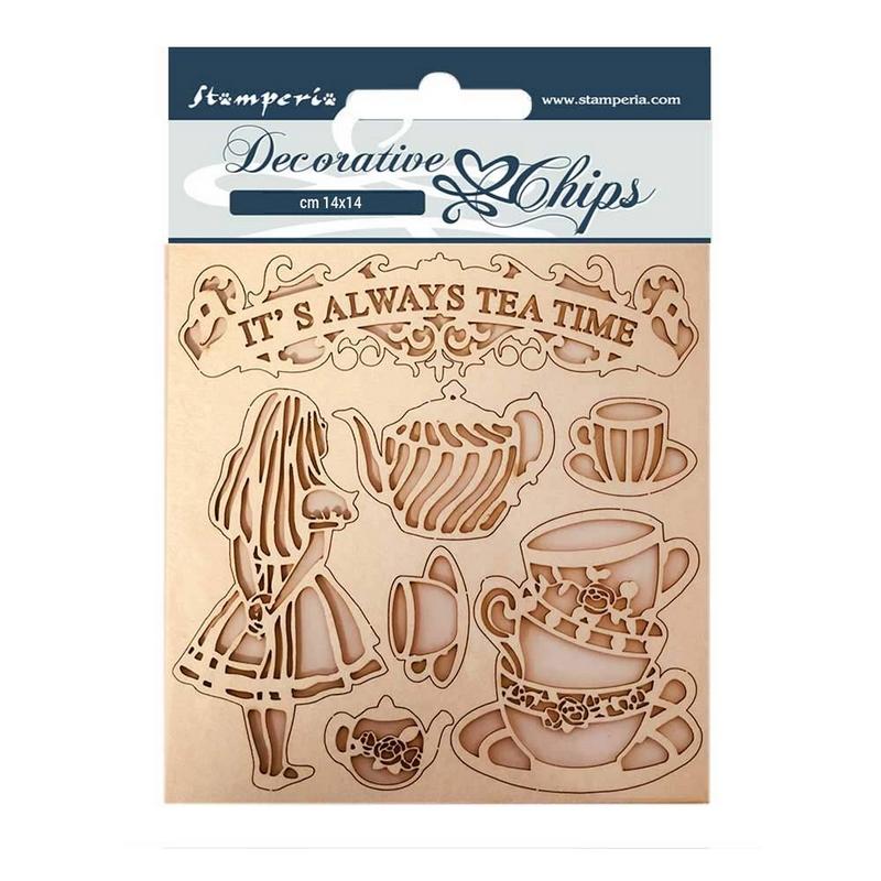 Chipboard Stamperia 14x14cm, Alice tea time