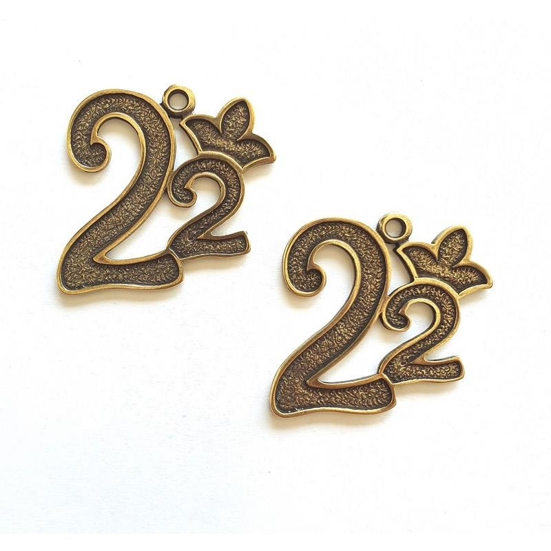Γούρια μεταλλικά - Κορώνα 2022 bronze 4cm 2 τεμ