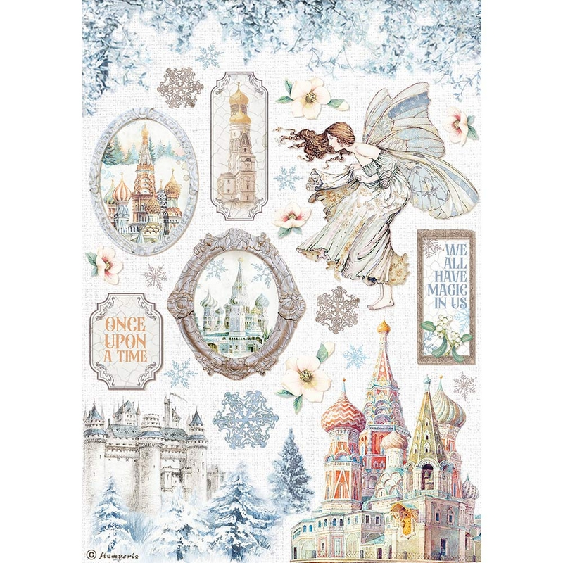 Ριζόχαρτο Stamperia 21x29cm, Winter Tales, Castle