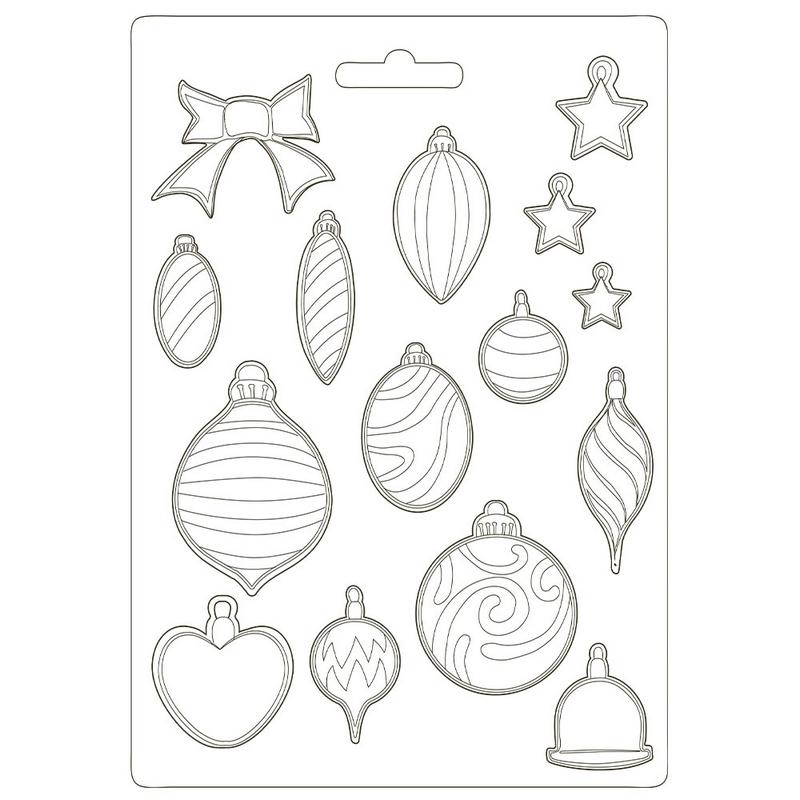 Καλούπι εύκαμπτο A4, 21x29cm, Stamperia, Christmas Patchwork, Heart
