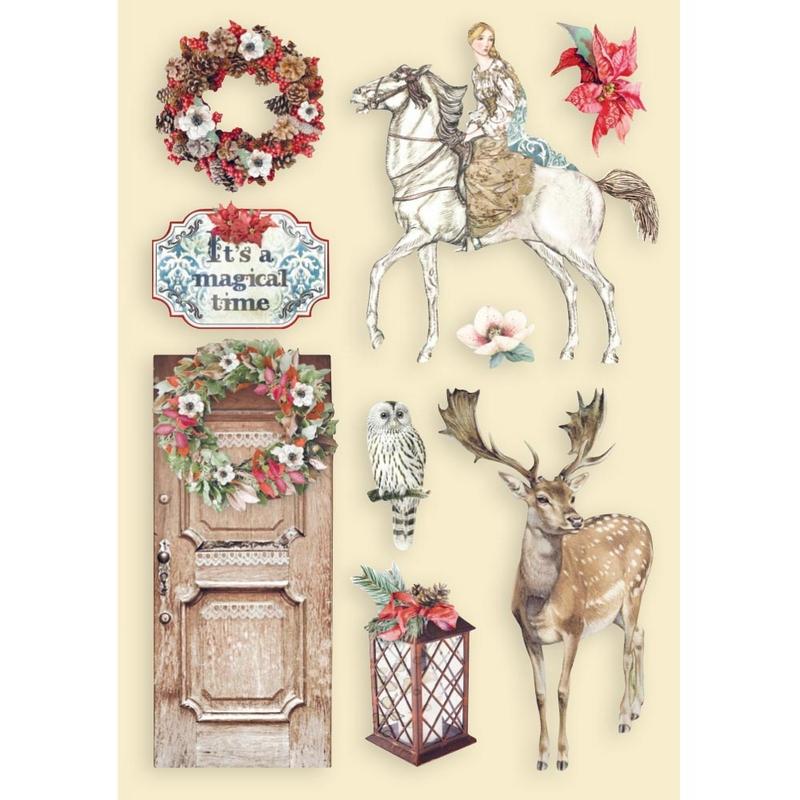 Ξυλάκια χρωματιστά διακοσμητικά A5, Winter Tales, Horse and deer