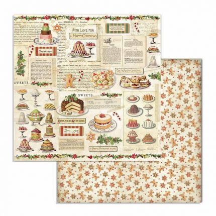 Χαρτιά scrapbooking Stamperia 10τεμ, 20.3x20.3cm, Classic Christmas