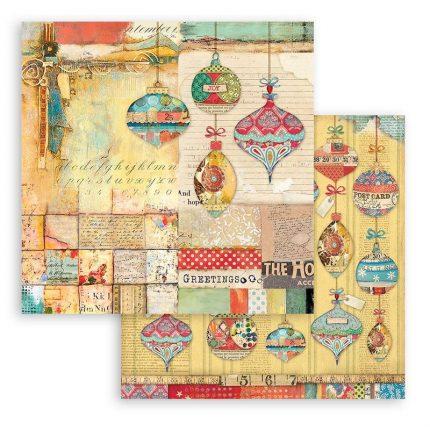 Χαρτιά scrapbooking Stamperia 10τεμ, 20.3x20.3cm, Christmas Patchwork