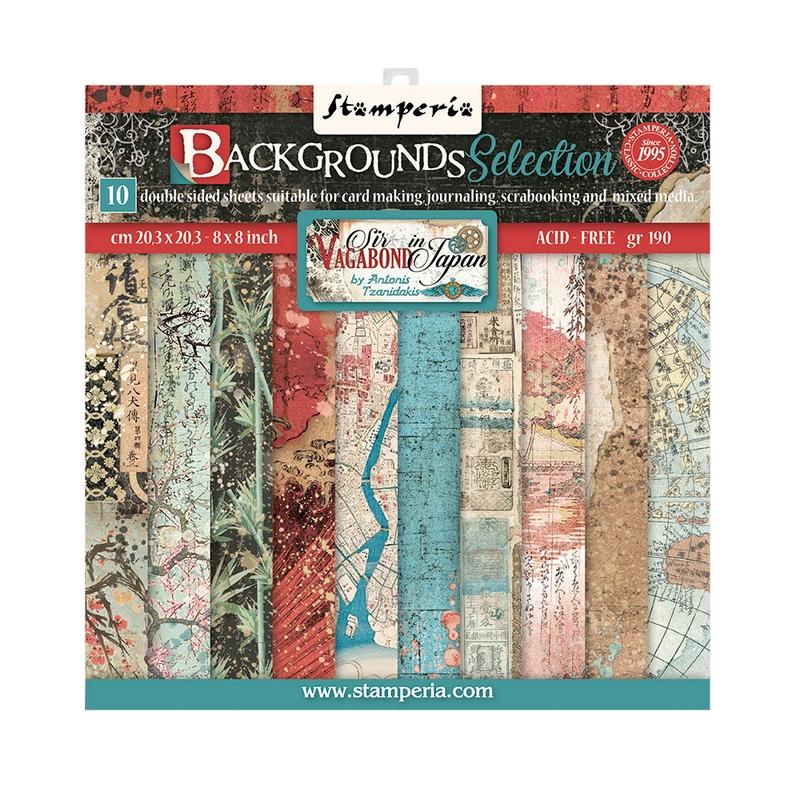 Χαρτιά scrapbooking Stamperia 10τεμ, 20.3x20.3cm, Sir Vagabond in Japan, Backgrounds Selection