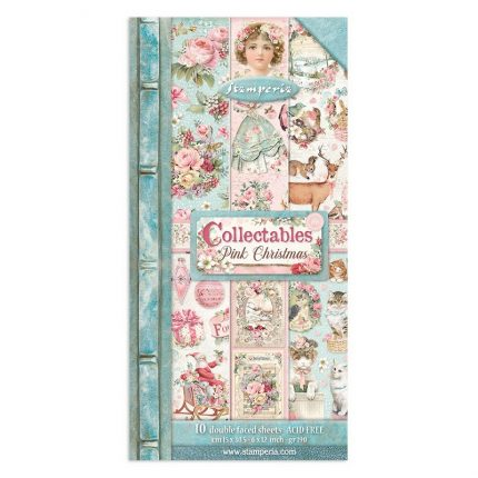 Χαρτιά scrapbooking Stamperia 10τεμ διπλής όψης, 15x30,5cm Pink Christmas