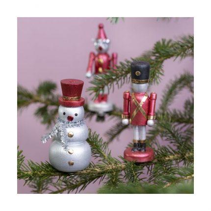 Χιονάνθρωπος ξύλινος, χριστουγεννιάτικο στολίδι, 7,8x3,3 cm